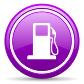 Fuel violet glossy icon on white background — 图库照片