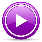 Play violet glossy icon on white background — Stock Photo