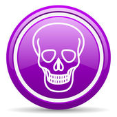 Skull violet glossy icon on white background — Stock Photo