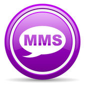 Mms violet glossy icon on white background — Foto Stock