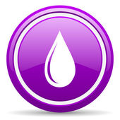 Water drop violet glossy icon on white background — Stock Photo