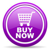 Buy now violet glossy icon on white background — Stock Photo