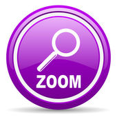 Zoom violet glossy icon on white background — Stock Photo