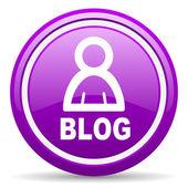Blog violett glänzend-symbol auf weißem hintergrund — Stockfoto