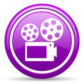 Kino violett glänzend symbol auf weißem hintergrund — Stockfoto