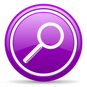 Search violet glossy icon on white background — Stock Photo