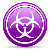 Virus violet glossy icon on white background — Stock Photo