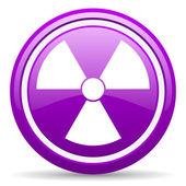 Radiation violet glossy icon on white background — Stock Photo