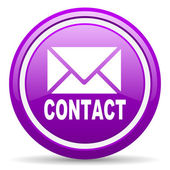 Contact violet glossy icon on white background — Stock Photo