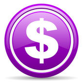 Us dollar violet glossy icon on white background — Stock Photo