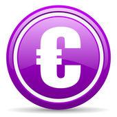 Euro violet glossy icon on white background — Stock Photo