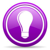 Light bulb violet glossy icon on white background — Stock Photo
