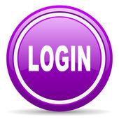 Login violet glossy icon on white background — Stock Photo