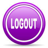 Logout violet glossy icon on white background — Stock Photo