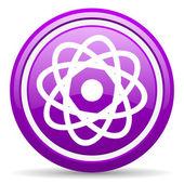 Atom violet glossy icon on white background — Stock Photo