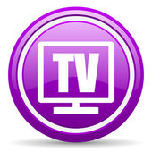 Tv violet glossy icon on white background — Stock Photo