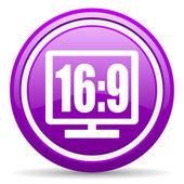 16 9 wyświetlanie fiołek ikona na białym tle — Zdjęcie stockowe