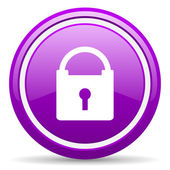 Protect violet glossy icon on white background — Стоковое фото