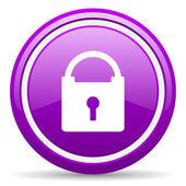 Schützen sie violett glänzend symbol auf weißem hintergrund — Stockfoto