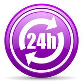 24h fiołek ikona na białym tle — Zdjęcie stockowe
