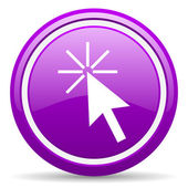 Click here violet glossy icon on white background — Stock Photo
