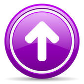 Arrow up violet glossy icon on white background — Stock Photo