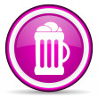 Beer violet glossy icon on white background — Stock Photo