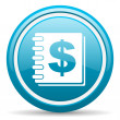 Money blue glossy icon on white background — Stock fotografie #18814985