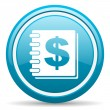 Money blue glossy icon on white background — Foto Stock #18814985