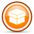 Box orange glossy icon on white background — Stock Photo #18815003