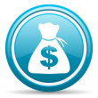 Money blue glossy icon on white background — Stock Photo