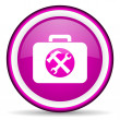 Toolkit violet glossy icon on white background - Stock Photo