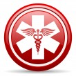 Caduceus red glossy icon on white background - Stock Photo