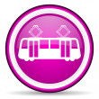 Tram violet glossy icon on white background - Stock Photo