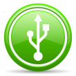 Usb green glossy icon on white background - Stock Photo