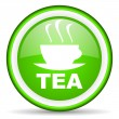 Tea green glossy icon on white background - Stock Photo