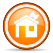 Home orange glossy icon on white background - Stock Photo