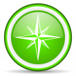 Compass green glossy icon on white background - Stock Photo
