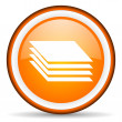 Layers orange glossy icon on white background - Stock Photo