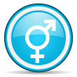 Sex blue glossy icon on white background - Stock Photo