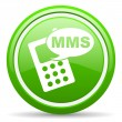Mms green glossy icon on white background - Stock Photo