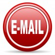 Mail red glossy icon on white background - Stock Photo