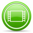 Movie green glossy icon on white background - Stock Photo