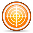 Target orange glossy icon on white background - Stock Photo