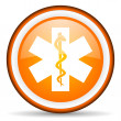 Caduceus orange glossy icon on white background — Stock fotografie