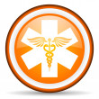 Caduceus orange glossy icon on white background — 图库照片