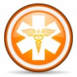 Caduceus orange glossy icon on white background - Stock Photo