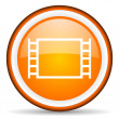 Stock Photo: Movie orange glossy icon on white background