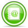 Address book green glossy icon on white background — Lizenzfreies Foto