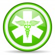 Caduceus green glossy icon on white background - Stock Photo